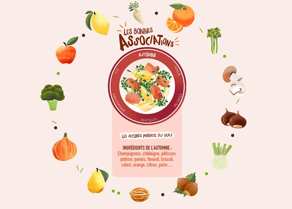 INGRÉDIENTS DE L'AUTOMNE : Champignons, châtaigne, pâtisson, potiron, panais, fenouil, brocoli, céleri, orange, citron, poire…